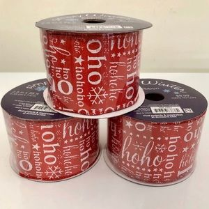 (#RBCH12) THREE SPOOLS OF CHRISTMAS RIBBON
